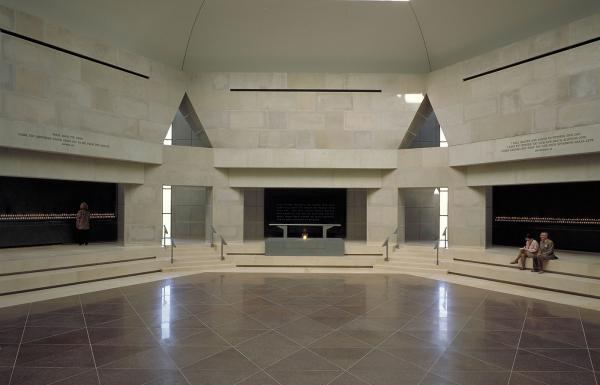 <p>Situated in the hexagonal structure that overlooks Eisenhower Plaza, the Hall of Remembrance is a simple, solemn space designed for public ceremonies and individual reflection.</p>