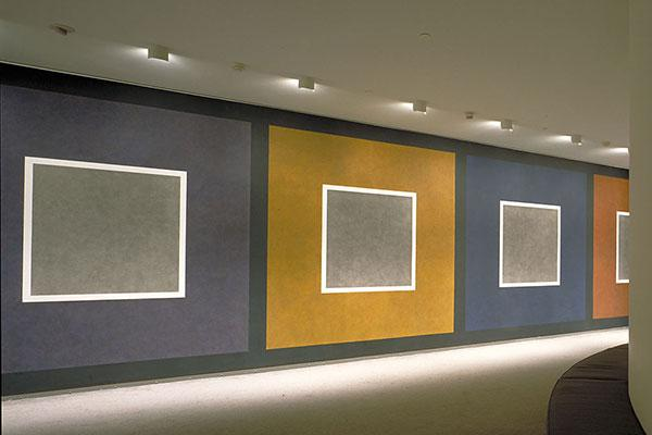<p>Sol LeWitt's wall drawing <em>Consequence</em>, is located in the Museum's second-floor lounge.</p>