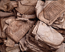 Pages of Hebrew prayer books damaged during Kristal...