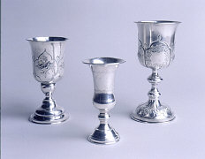 Silver kiddush cups of Caspary family