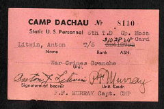 Dachau trial mess card