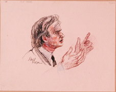 Courtroom Sketch of Elie Wiesel at the Trial of Klaus...