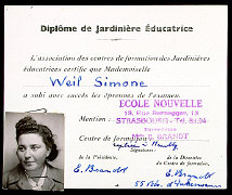 Simone Weil's kindergarten teacher certification