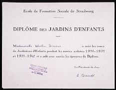 Certificat d'enseignant fabriqué pour Simone Weil