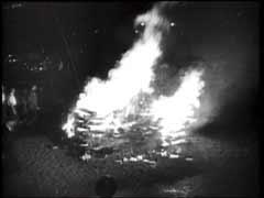 Libri vengono bruciati durante un discorso di Goebb...