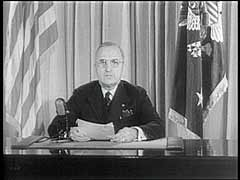 Truman proclaims victory in Europe