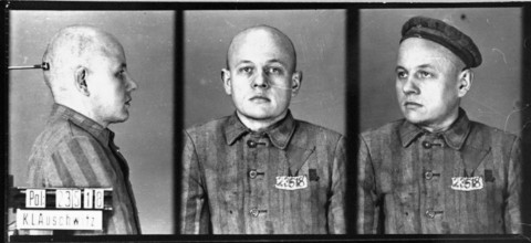 Identification pictures of a prisoner, accused of homosexuality, recently arrived at the Auschwitz concentration camp. Auschwitz, Poland, between 1940 and 1945.