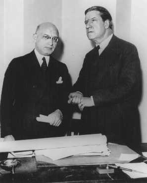 American Zionist leader Rabbi Stephen S. Wise (right) with Bernard Deutsch, president of the American Jewish Congress, before lodging a protest with President Franklin D. Roosevelt against religious persecution in Germany. New York, United States, March 22, 1933.