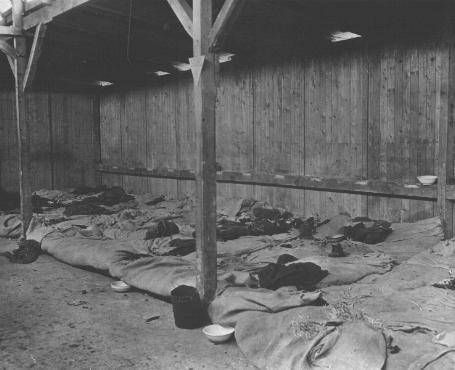 Interior view of prisoners' barracks at the Ohrdruf subcamp of the Buchenwald concentration camp. This photograph was taken after liberation. Ohrdruf, Germany, April 13, 1945.
