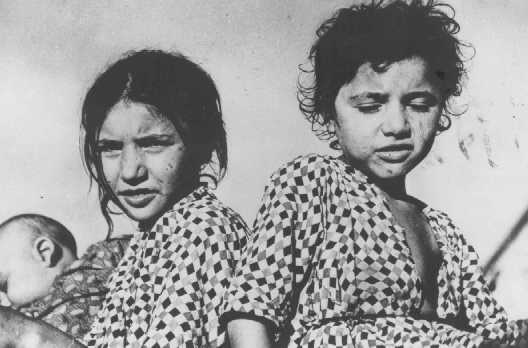 Enfants tsiganes, détenus dans un camp de concentration d'oustachi (fascistes croates). Yougoslavie, pendant la guerre.
