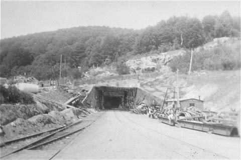 View of a tunnel entrance to the rocket factory at the Dora-Mittelbau concentration camp, near Nordhausen. Germany, April-May 1945.