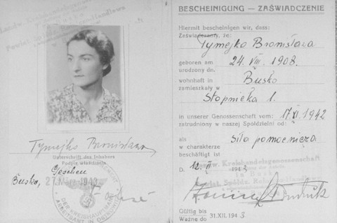 Document issued by the Regional Agricultural Mercantile Cooperative in Busko-Zdroj certifying that Bronislawa Tymejko (the false identity of Sophie's mother, Laura Schwarzwald) was employed by the cooperative, dated November 1942.