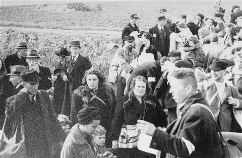 Dutch Jews from Hooghalen during deportation to the Westerbork transit camp. The Netherlands, October 1942.