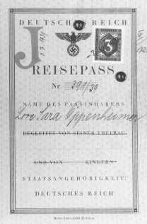 "Passport issued to Lore Oppenheimer, a German Jew, with ""J"" for ""Jude"" stamped on the card. ""Sara"" was added to the names of all German Jewish women. Hildesheim, Germany, July 3, 1939."