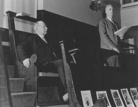 Rufus Jones (seated) and Clarence Pickett, chairman and executive secretary of the American Friends Service Committee (AFSC), at a Quaker meeting. The AFSC assisted Jewish and Christian European refugees. Philadelphia, United States, January 22, 1943.