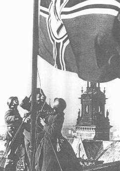 The Nazi flag is raised over the Krakow castle. Krakow, Poland, 1939.