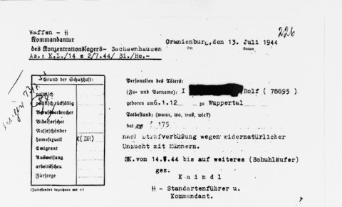 An official order incarcerating the accused in the Sachsenhausen concentration camp for committing homosexual acts.