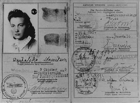 "The type of ""Aryan"" identification card which Vladka Meed had used from 1940–1942 on the Aryan side of Warsaw, smuggling arms to Jewish fighters and helping Jews escape from the ghetto."