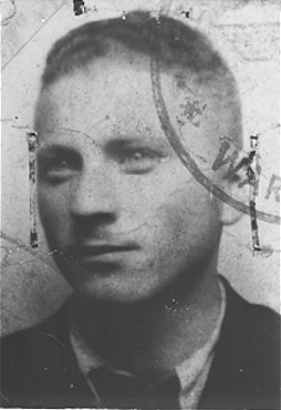False identification card photo of Benjamin Miedzyrzecki (Benjamin Meed) as a member of the Warsaw ghetto underground. Warsaw, Poland, 1943.