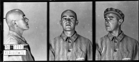 Fotos de identificación de un prisionero, acusado de homosexualidad, que llegó al campo de concentración de Auschwitz el 6 de junio de 1941. Murió allí un año después. Auschwitz, Polonia.
