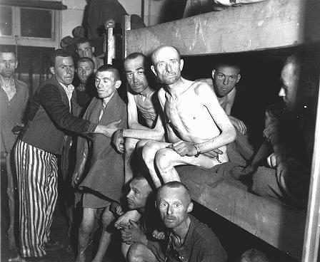 Survivors of the Ebensee subcamp of the Mauthausen concentration camp. Ebensee, Austria, May 8, 1945.