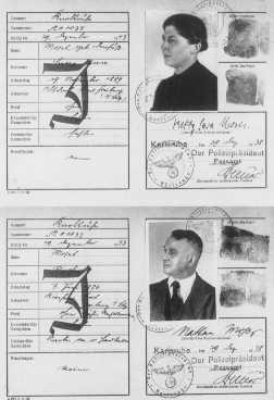 "Passports issued to a German Jewish couple, with ""J"" for ""Jude"" stamped on the cards. Karlsruhe, Germany, December 29, 1938."