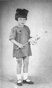 Portrait of five-year-old Mania Halef, a Jewish child, who was later killed during the mass execution at Babi Yar.