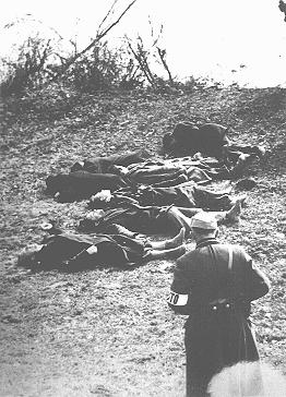 Aftermath of a shooting along the banks of the Danube River; members of the pro-German Arrow Cross party massacred thousands of Jews along the banks of the Danube. Budapest, Hungary, 1944.