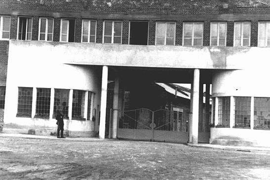Entrance to Oskar Schindler's enamel works in Zablocie, a suburb of Krakow. Poland, 1939-1944.