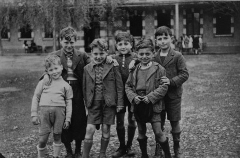Jewish refugee boys at the Maison des Pupilles de la Nation children's home in Aspet. These children reached the home through the efforts of the Children's Aid Society (Oeuvre de Secours aux Enfants; OSE) and the American Friends Service Committee. Aspet, France, ca. 1942.