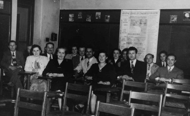 A class for new immigrants in the United States. Postwar.