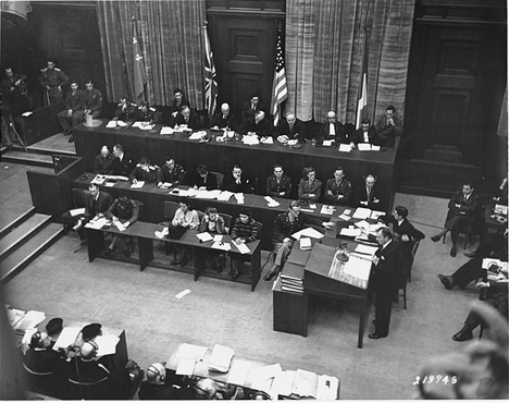 Chief US Counsel Justice Robert Jackson delivers the prosecution's opening statement at the International Military Tribunal. Nuremberg, Germany, November 21, 1945.