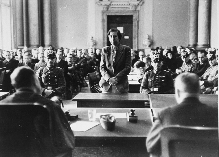 Participants in the July 1944 plot to assassinate Hitler stand trial before the People's Court of Berlin. Berlin, Germany, August–September 1944.