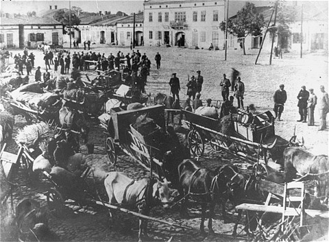Jews from Przyrow are deported to the Treblinka extermination camp. Czestochowa, Poland, September-October 1942.