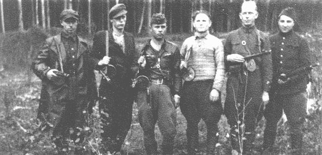 A group of Jewish partisans in the Rudniki forest, near Vilna, between 1942 and 1944.