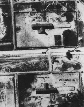 Aerial photograph showing the gas chambers and crematoria 2 and 3 at the Auschwitz-Birkenau (Auschwitz II) extermination camp. Auschwitz, Poland, August 25, 1944.