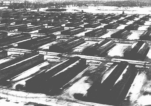 Barracks in the Auschwitz-Birkenau camp. This photograph was taken after the liberation of the camp. Auschwitz-Birkenau, Poland, after January 29, 1945.
