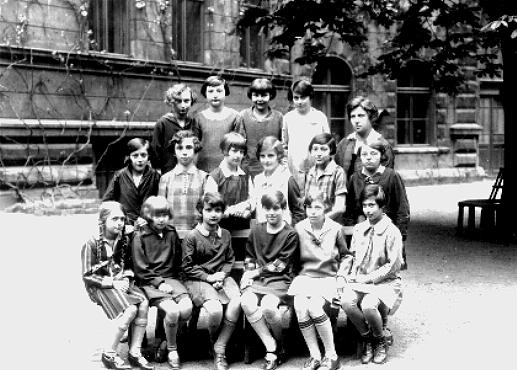 Ruth Kohn (top row, second from left) and her classmates at a school in Prague. Prague, Czechoslovakia, 1928.