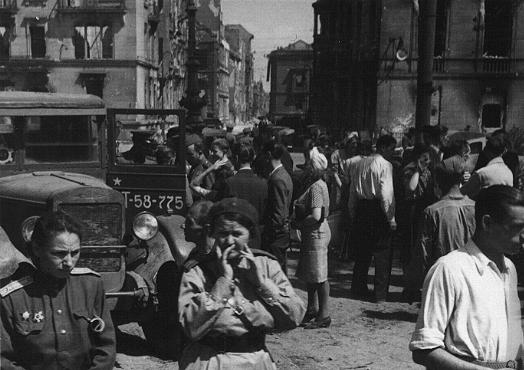 Soviet soldiers in a street in the Soviet occupation zone of Berlin following the defeat of Germany. Berlin, Germany, after May 9, 1945.