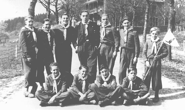 Older children who helped to run the school at the Colonie des Enfants au Grand Air. Three of the boys are Jewish youth who were hidden during the war. Liege, Belgium, between 1942 and 1944.
