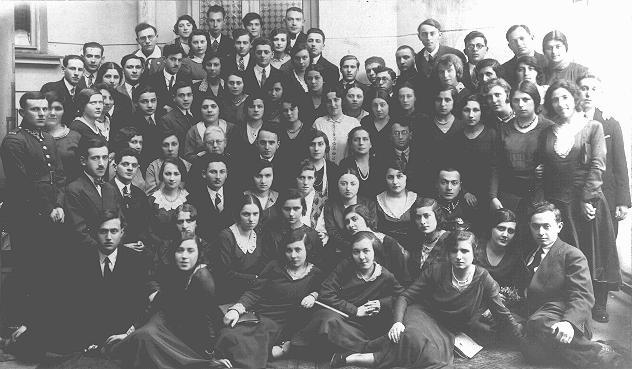 Graduates of the Piotrkow Trybunalski Hebrew Gymnasium (Jewish high school). Piotrkow Trybunalski, Poland, 1929.