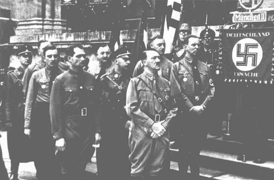 Adolf Hitler and other participants in the Hitler Putsch, during the annual anniversary celebration of his failed attempt to seize power. Behind Hitler stand Rudolf Hess (left) and Heinrich Himmler. Munich, Germany, November 9, 1934.