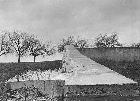 View of the wall surrounding the cemetery of the Hadamar Institute. Jagged pieces of glass were placed on the wall to discourage observers. This photograph was taken by an American military photographer soon after the liberation of Hadamar. Germany, April 5, 1945.