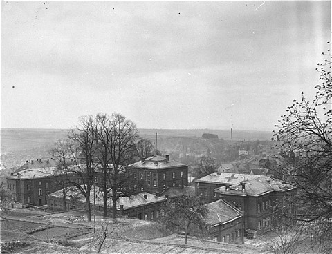 View of the Hadamar Institute. This photograph was taken by an American military photographer soon after the liberation. Germany, April 7, 1945.