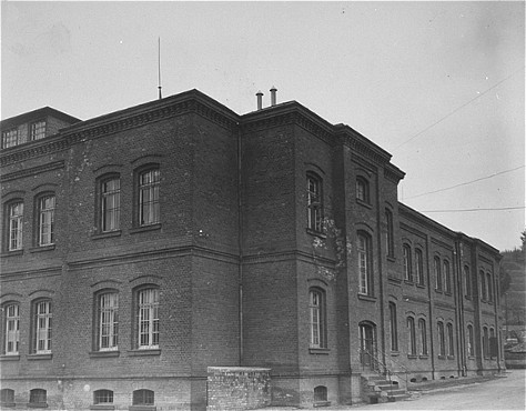 Exterior view of the Hadamar main building. The photograph was taken by an American military photographer soon after the liberation. Germany, April 7, 1945.