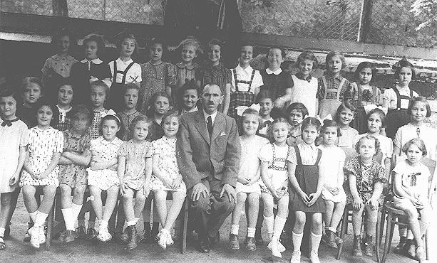 Group portrait of students at a Jewish school. Bratislava, Czechoslovakia, 1938.
