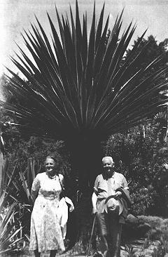 """Le pasteur calviniste Gerardus Pontier et sa femme, Dora Wartema, à Yad Vashem, où ils furent honorés pour avoir caché des enfants juifs aux Pays-Bas. Pontier et Wartema ont été déclarés """"Juste parmi les Nnations."""" Jérusalem, Israël, 1968."""