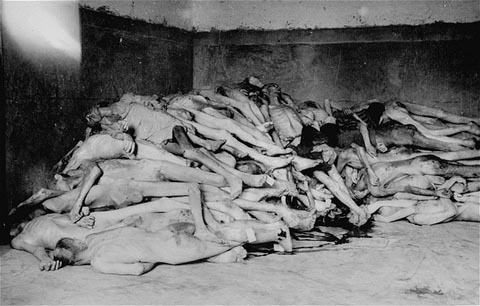The bodies of former prisoners are piled in the crematorium mortuary in the newly liberated Dachau concentration camp. Dachau, Germany, April 29, 1945.