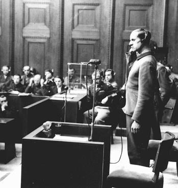 Defendant Karl Brandt testifies during the Doctors' Trial. Nuremberg, Germany, December 9, 1946-August 20, 1947.
