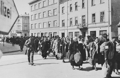 Deportation from the Krakow ghetto at the time of the ghetto's liquidation. Krakow, Poland, March 1943.